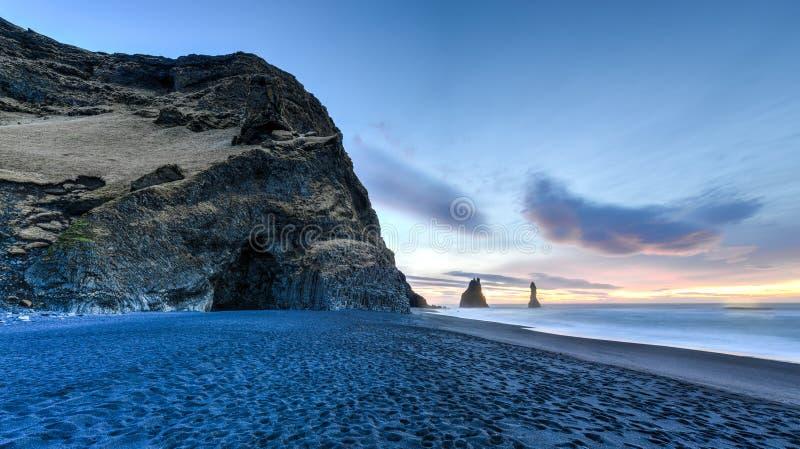 Reynisdrangar on Reynisfjara Beach stock photos