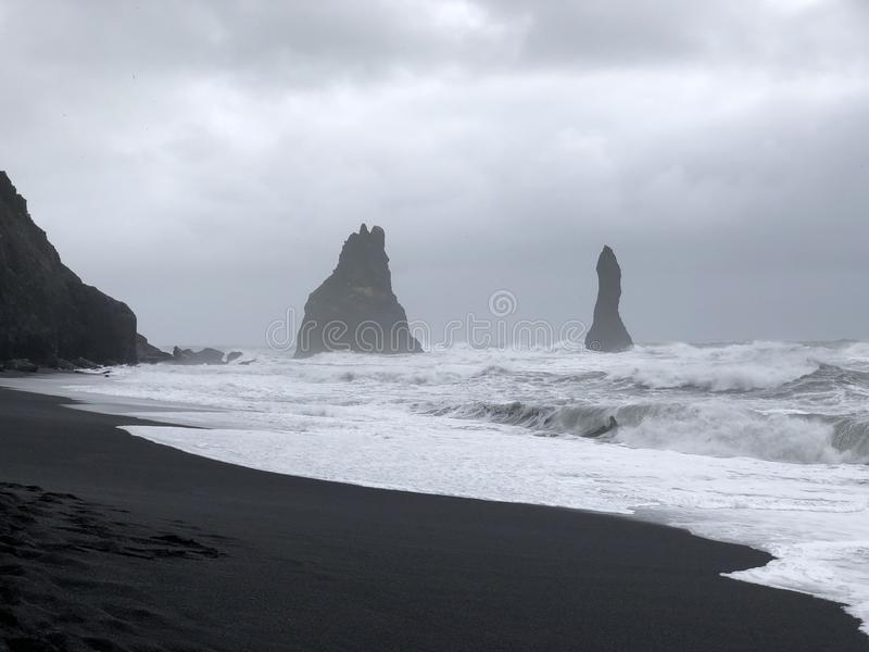 Reynisdrangar. Rock formations. These 60 meter rock formations stand in front of the coast of south Iceland stock images