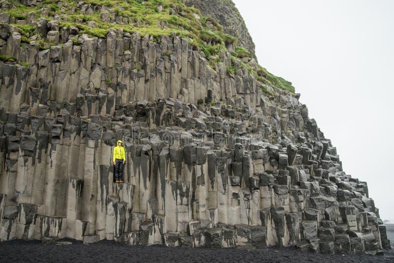 Reynisfjara basalt columns. Reynisfjara beach with basalt columns stock photo