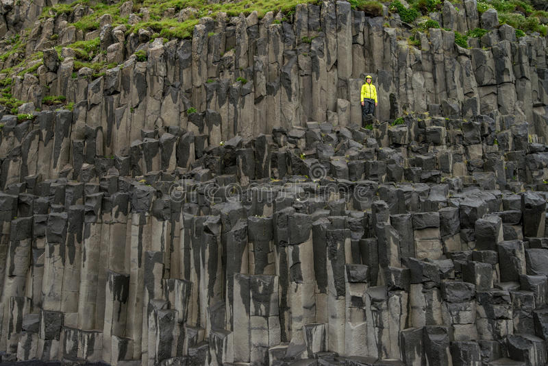 Reynisfjara basalt columns. Reynisfjara beach with basalt columns stock images