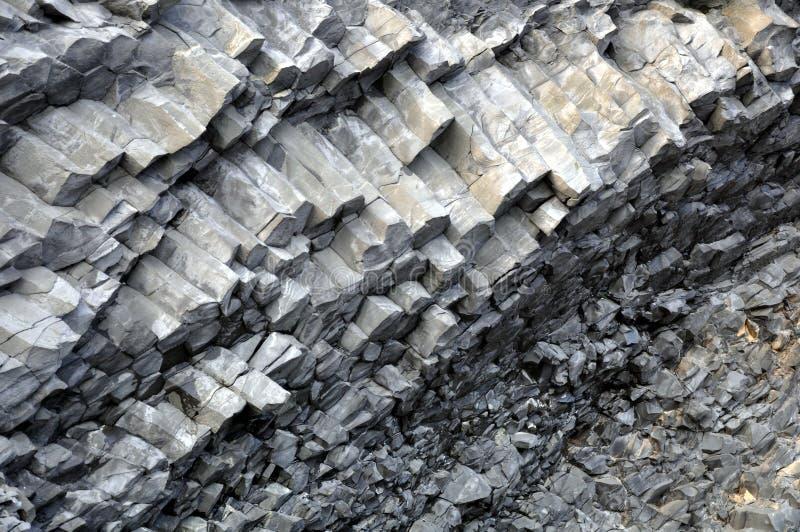 Reynisfjara Basalt columns. Close-up royalty free stock image