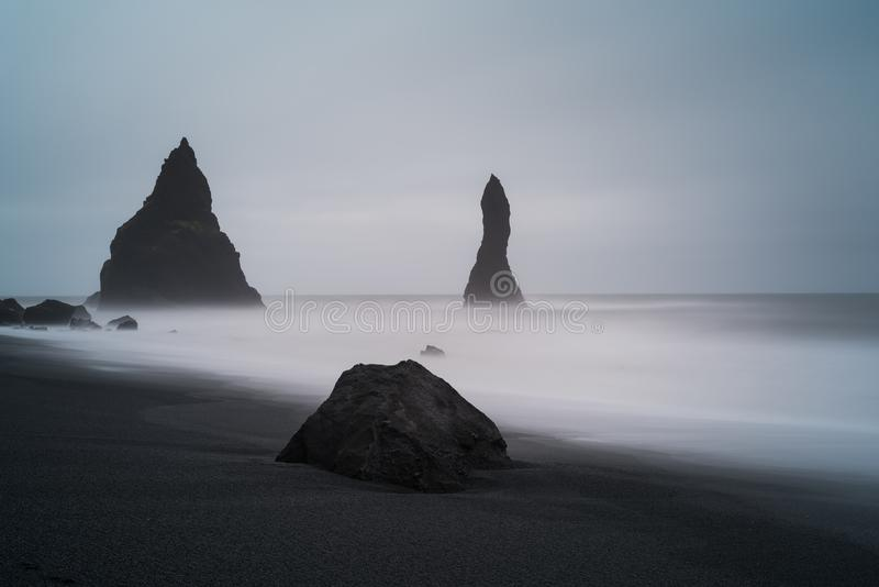 Reynisfjara Black Sand Beach near Vik Iceland royalty free stock image