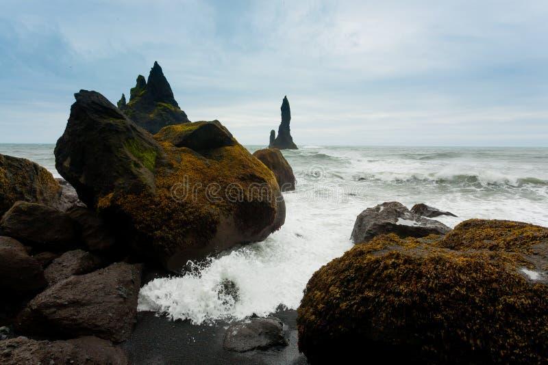 Reynisfjara lava beach view, south Iceland landscape royalty free stock photos
