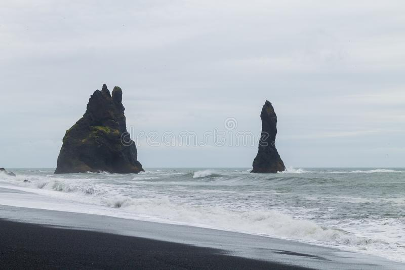 Reynisfjara lava beach view, south Iceland landscape stock image