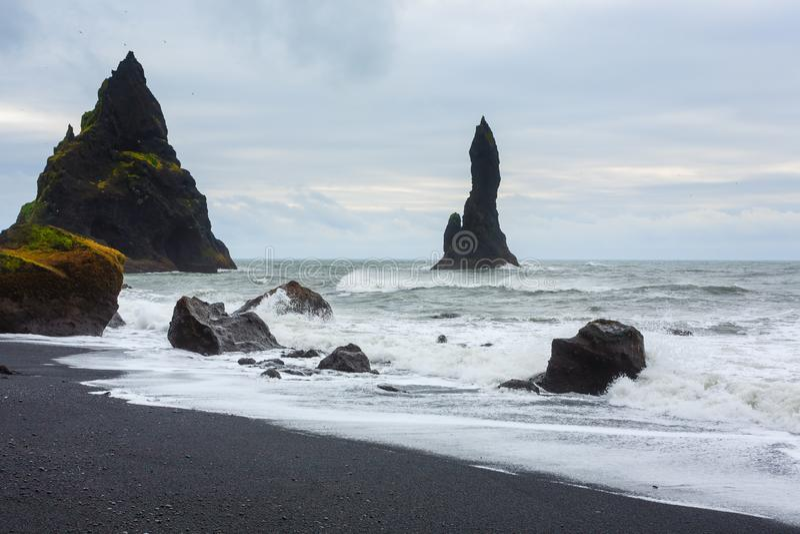 Reynisfjara lava beach view, south Iceland landscape royalty free stock image