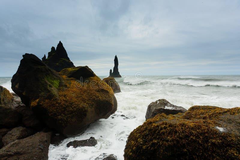 Reynisfjara lava beach view, south Iceland landscape stock photography
