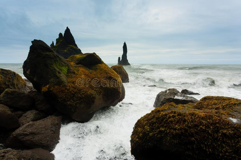 Reynisfjara lava beach view, south Iceland landscape stock images
