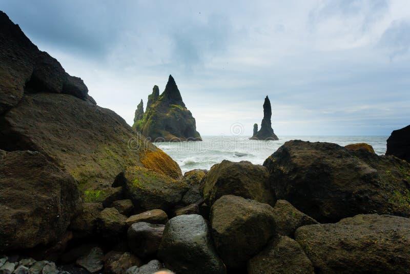 Reynisfjara lava beach view, south Iceland landscape royalty free stock photography