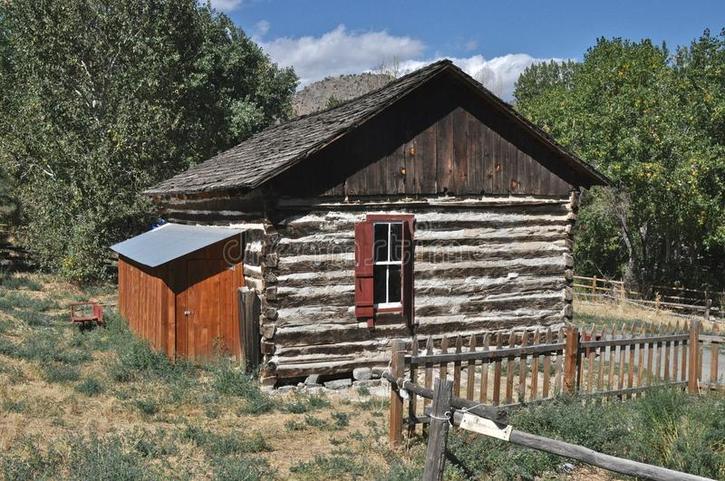 Reynolds Cabin. At Clear Creek History Park in Golden, Colorado royalty free stock image