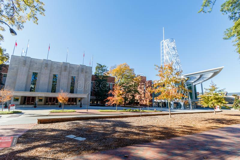 Reynolds Coliseum and Talley Student Union at NCSU. Reynolds Coliseum and Talley Student Union on November 24, 2017 at North Carolina State University in Raleigh stock image