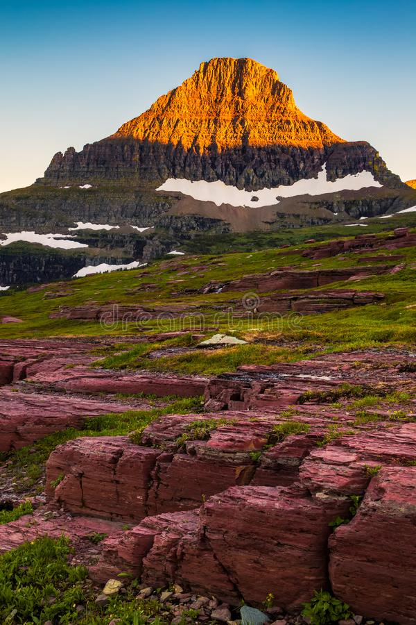 Reynolds Mountain in the Logan Pass area of Glacier National Park, Montana. USA royalty free stock image