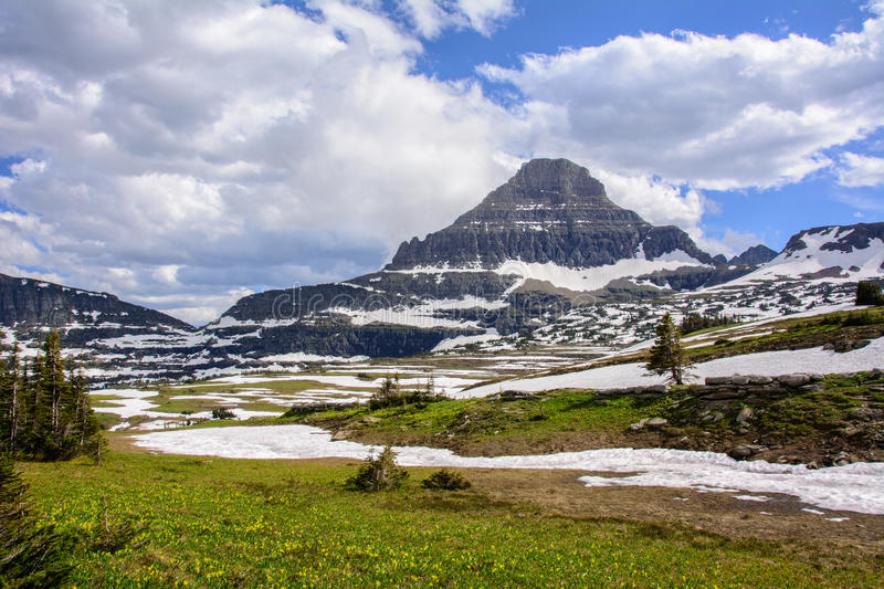 Reynolds Mountain at Logan Pass in Glacier National Park in Montana USA stock photo