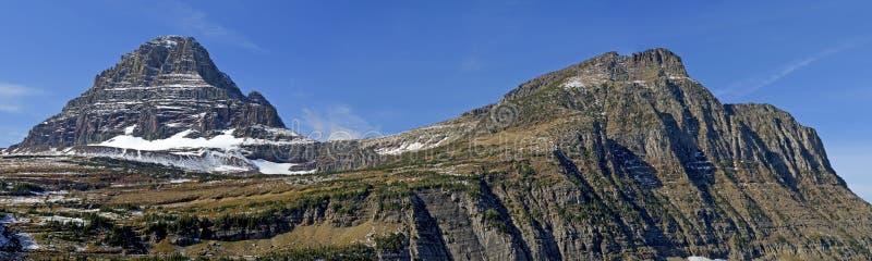 Reynolds Mountain and Mt Oberlin, Glacier National Park. Reynolds Mountain and Mt Oberlin in Glacier National Park, Montana stock photo