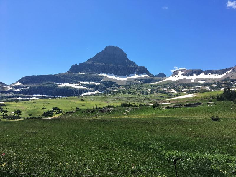 Reynolds Mountain. View of Reynolds Mountain near Logan Pass in Glacier National Park stock photography
