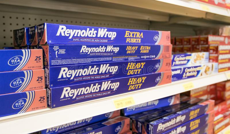 Reynolds Wrap. Holetown, Barbados, 03-19-2018: Reynolds Wrap occupies a shelf of a local supermarket royalty free stock images