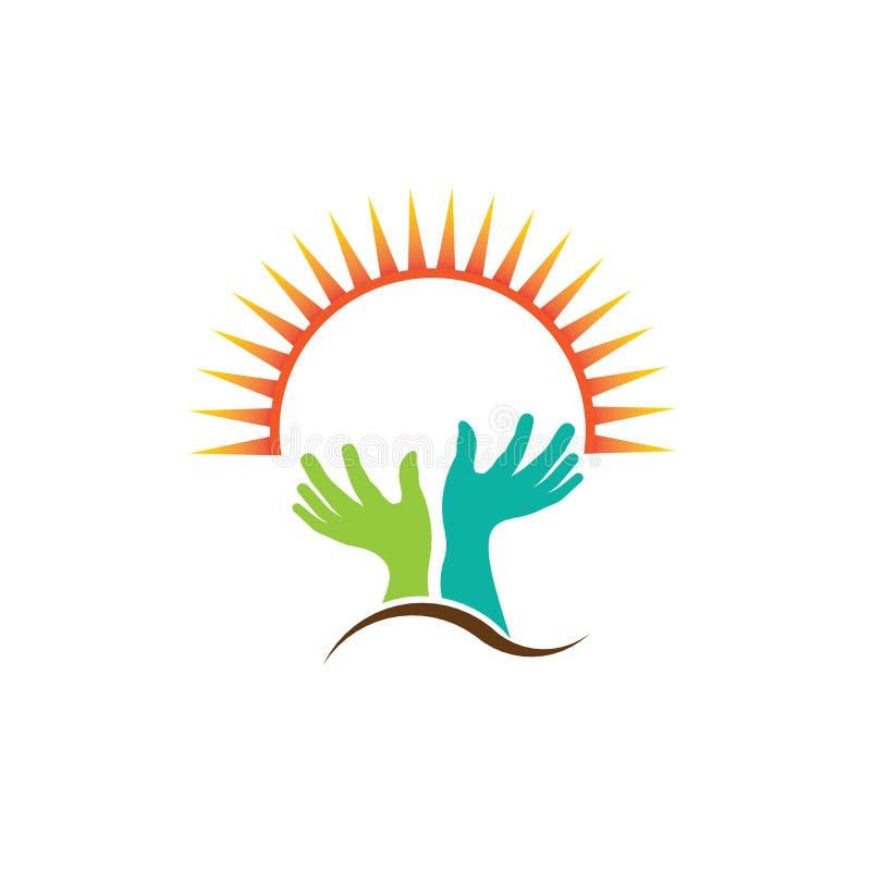 Rezando duas mãos com imagem do halo ilustração royalty free