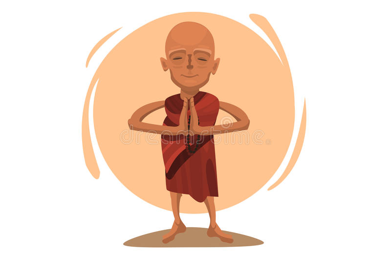 Rezando a monge tibetana ilustração stock