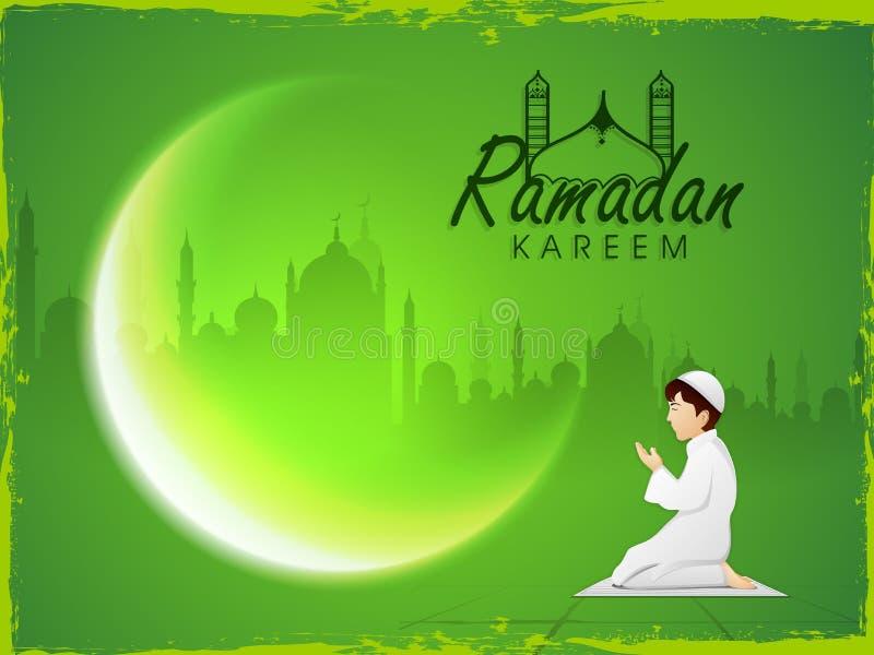 Rezando o menino e o crescente muçulmanos moon para a celebração de Ramadan Kareem ilustração royalty free