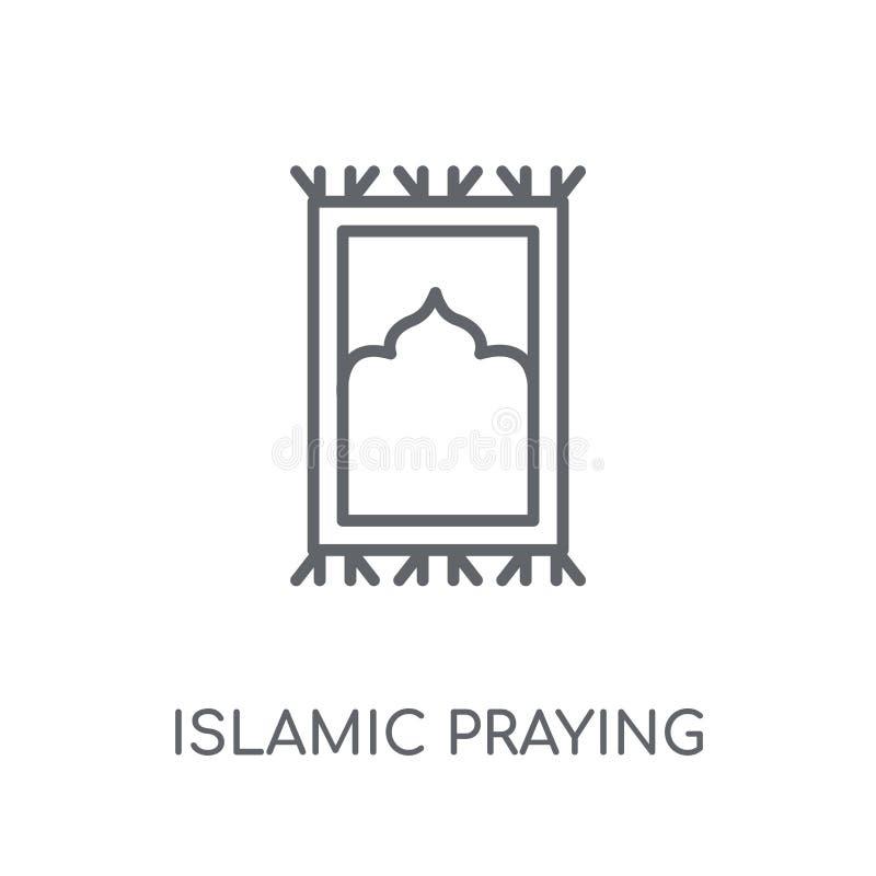 Rezar islâmico atapeta o ícone linear Esboço moderno Prayi islâmico ilustração royalty free