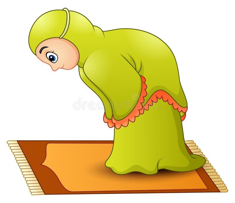 Rezar muçulmano dos desenhos animados da menina ilustração do vetor
