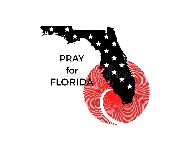 Rezar para Florida Furacão Irma, catástrofe natural Vetor ilustração stock