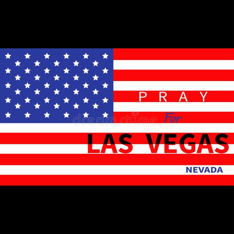 Rezar para Las Vegas Nevada Bandeira americana Tributo às vítimas do tiro da massa do ataque do terrorismo LV no 1º de outubro de ilustração stock