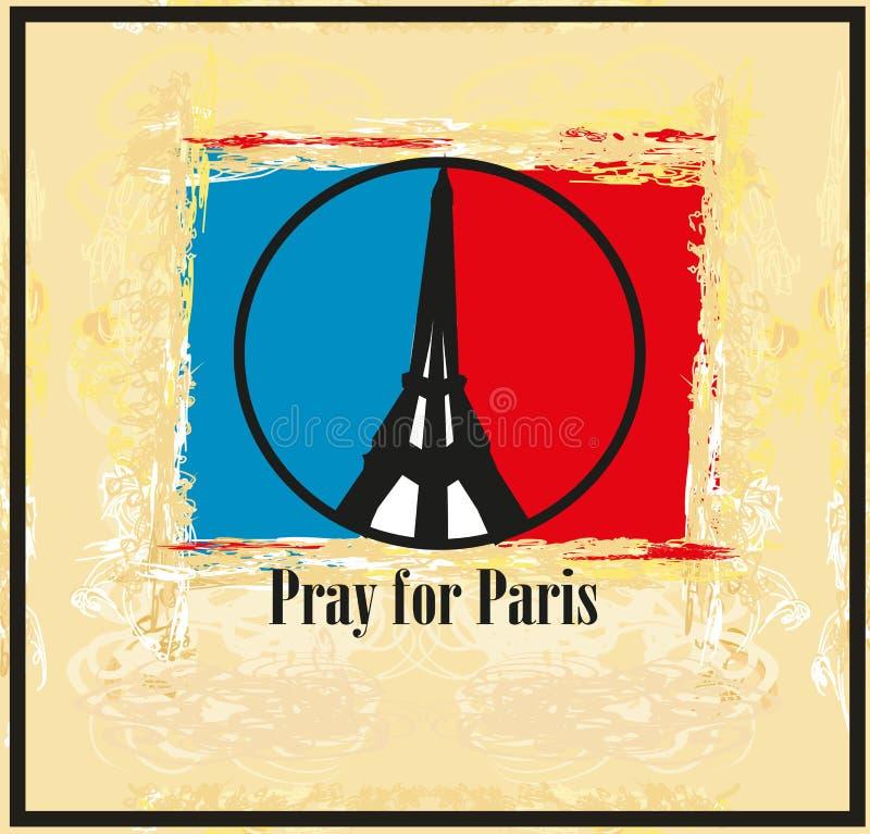 Rezar para Paris - cartão ilustração do vetor