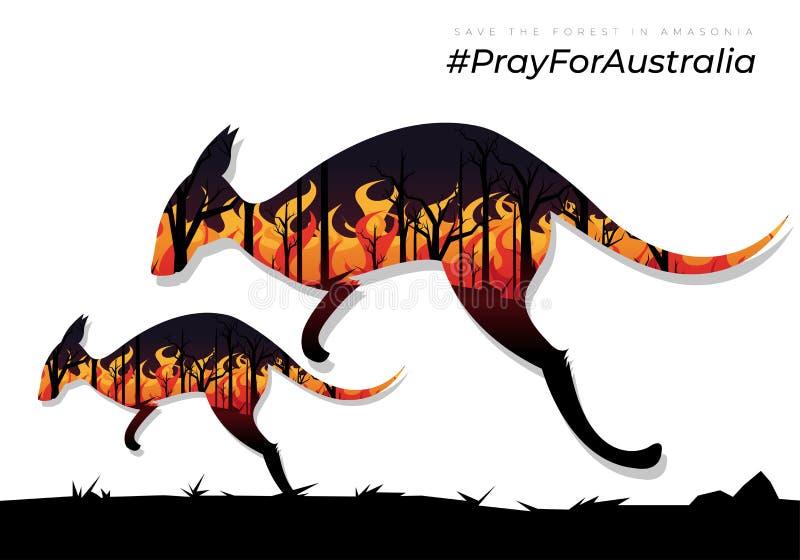 Reze pela Austrália canguru assustado com um canguru bebê tentando escapar das queimadas ilustração do vetor
