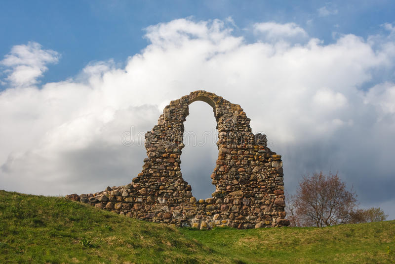 Rezekne中世纪城堡的废墟  库存照片