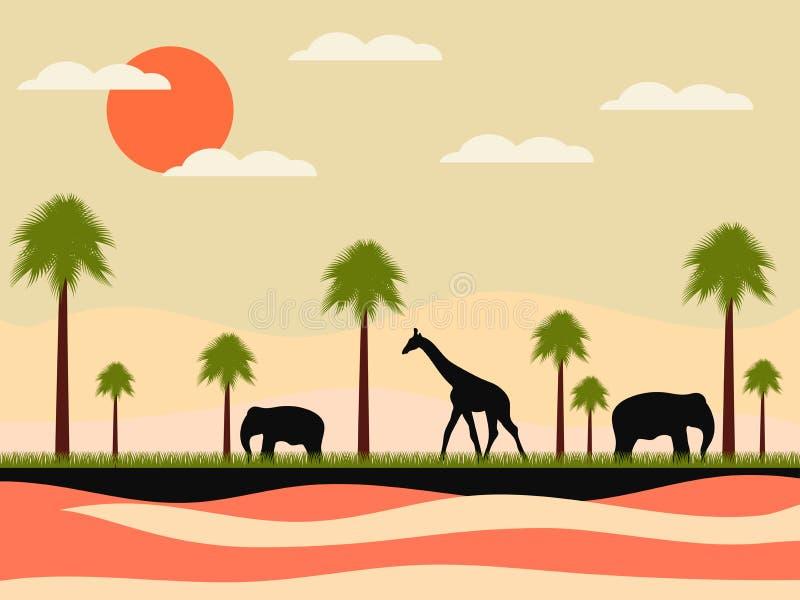 Rezerwa, Africa krajobraz z zwierzętami Żyrafa i słonie, palmy miłość pardwy piosenka dziki drewna natury wektor royalty ilustracja