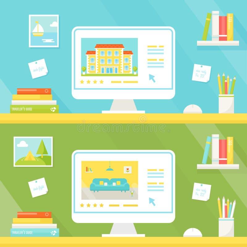 Rezerwacja i hotel Online mieszkanie lub Do wynajęcia strony internetowe i wycieczki Planistyczna ilustracja royalty ilustracja