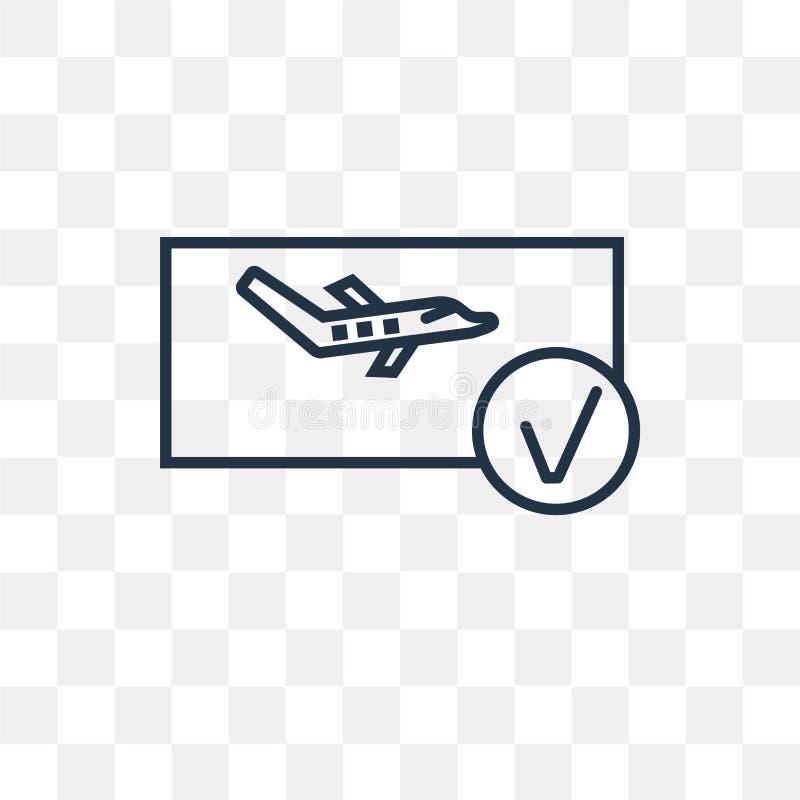 Rezerwacji wektorowa ikona odizolowywająca na przejrzystym tle, liniowy b ilustracji