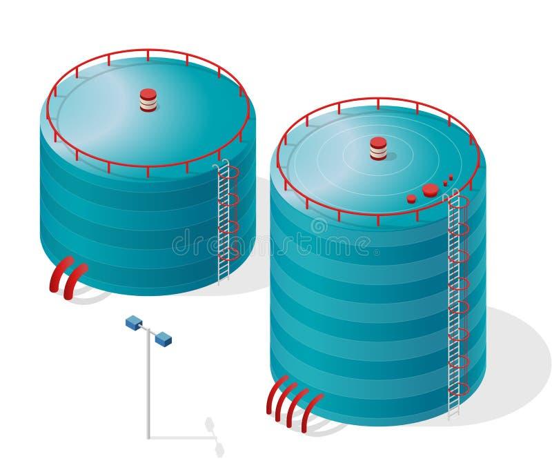 Rezerwata wodnego budynku informaci isometric grafika Błękitne wody rezerwuaru dostawa ilustracja wektor