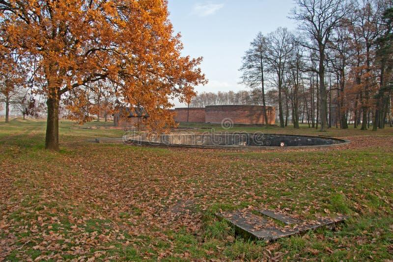 Rezerwuary w koncentraci obozowy auschwitz w Polska poprzedniej eksterminaci i fotografia stock