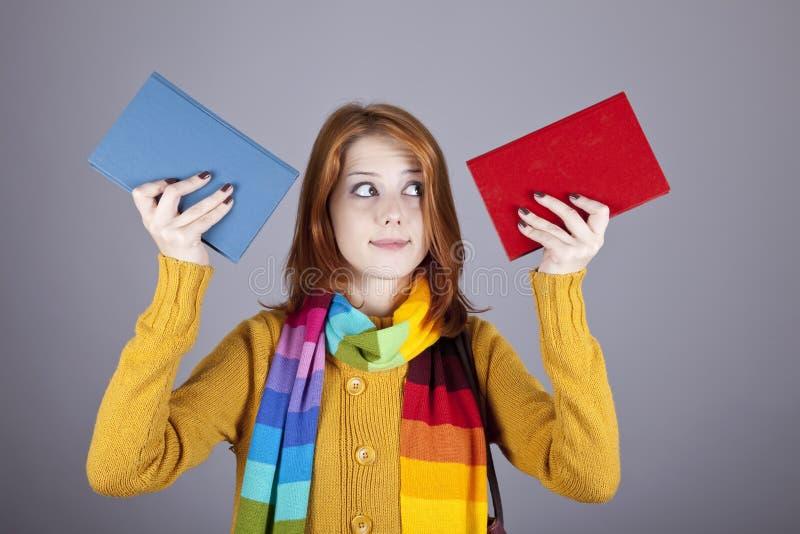 rezerwuje dziewczyna ucznia dwa obraz stock