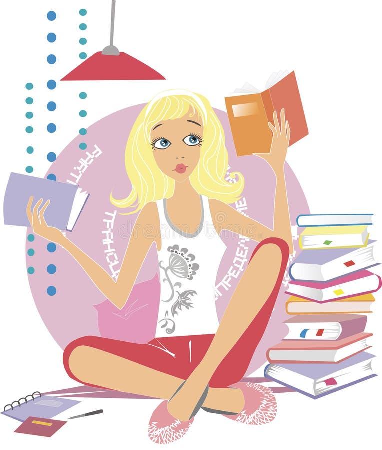 rezerwuje dziewczyny czytanie ilustracja wektor