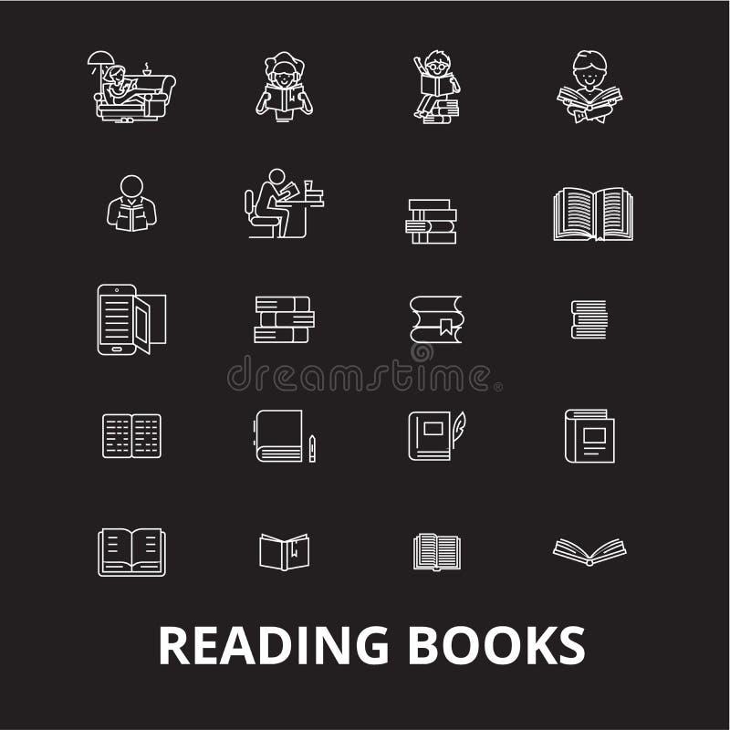 Rezerwuje editable kreskowy ikony wektorowego ustawiającego na czarnym tle Rezerwuje białe kontur ilustracje, znaki, symbole ilustracji