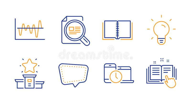 Rezerwuje, gadki wiadomość i zwycięzcy podium ikony ustawiać Sprawdza artykuł, żarówkę i Akcyjnej analizy znaki, wektor ilustracji