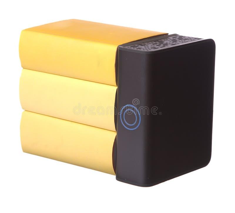 rezerwuje hardback komputerowego ciężkiego kolor żółty obrazy stock