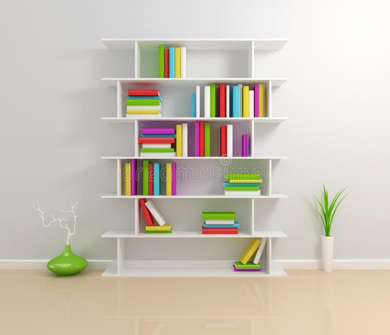 rezerwuje kolorowego półka na książki biel ilustracja wektor