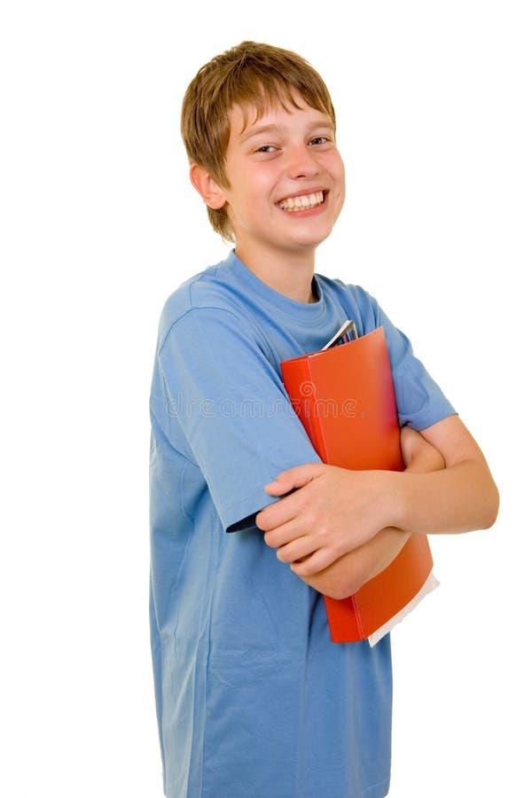 rezerwuje kolorowego uśmiechniętego ucznia obraz stock