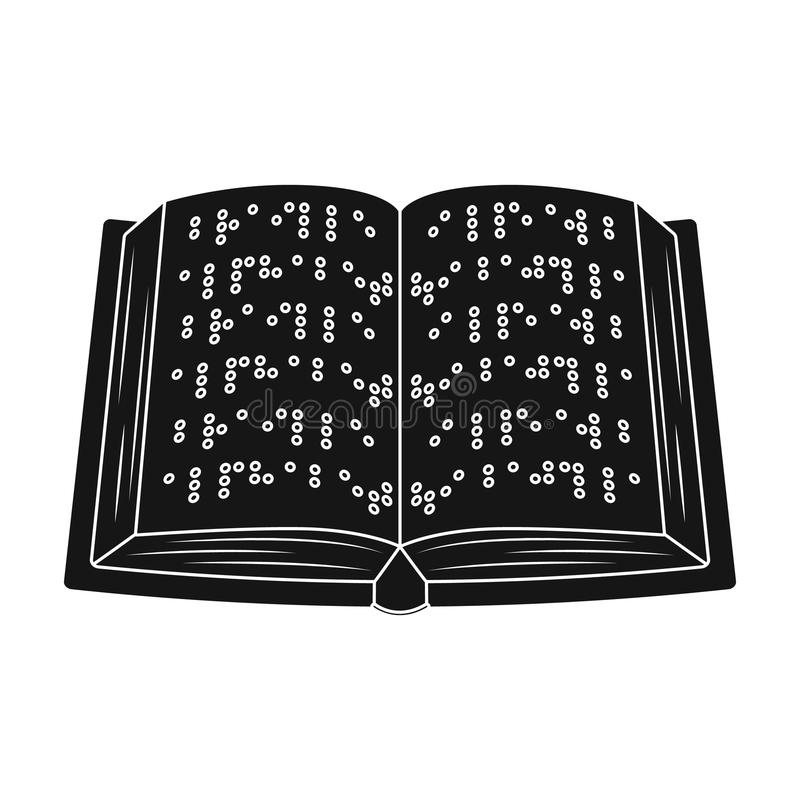 Rezerwuje pisać w Braille ikonie w czerń stylu odizolowywającym na białym tle ilustracja wektor