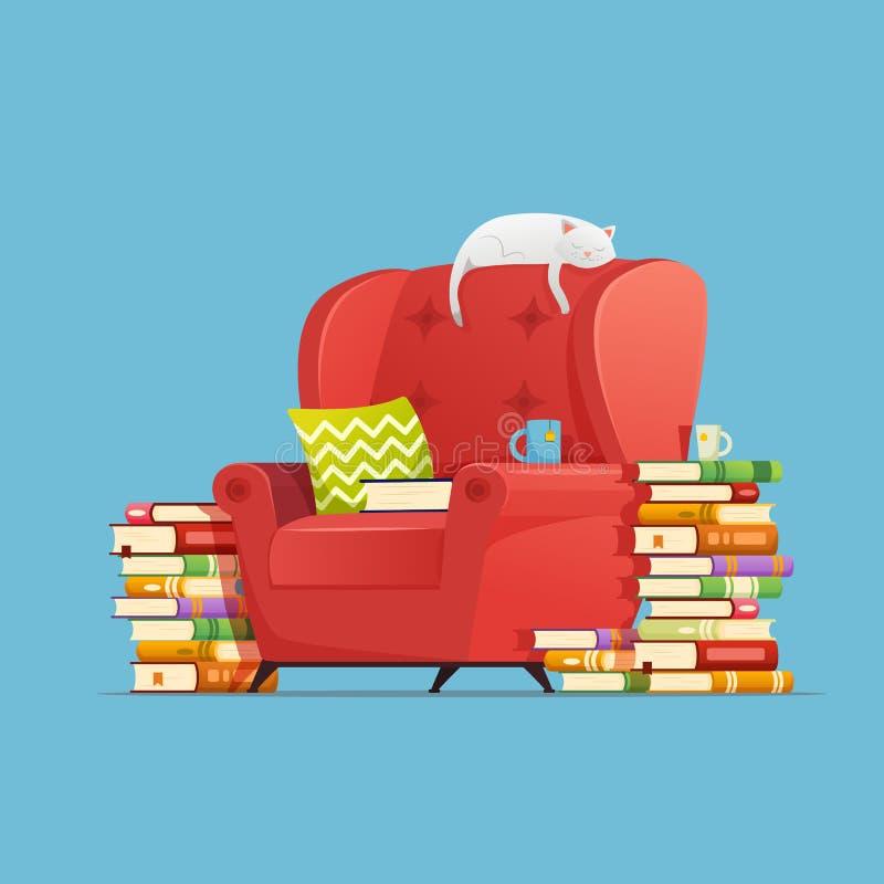 rezerwuje pojęcie Żywy izbowy meblarski karło z książkami, kota charakteru lying on the beach i odpoczywać na karle Kota Marzyć ilustracji