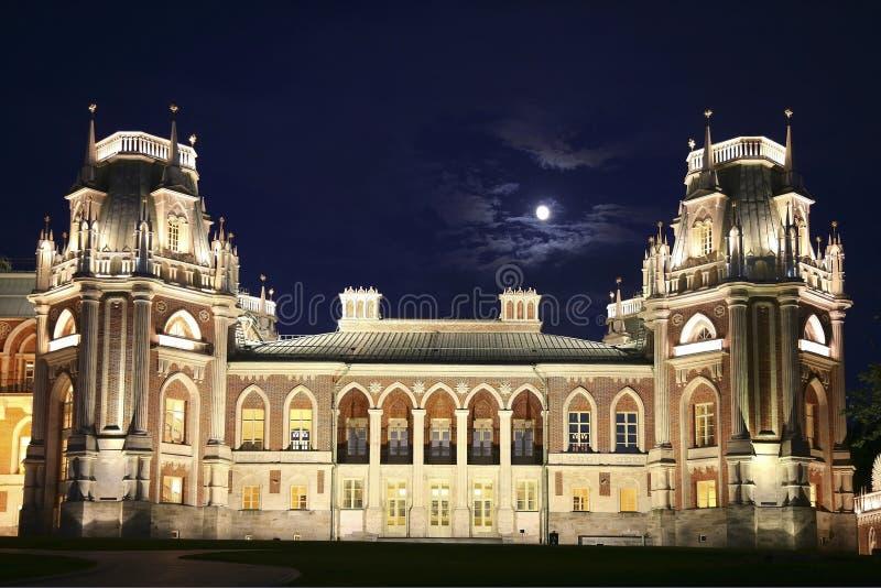 Rezerwy ` Tsaritsyno ` moonlit noc Prawica Uroczysty pałac moscow obrazy stock
