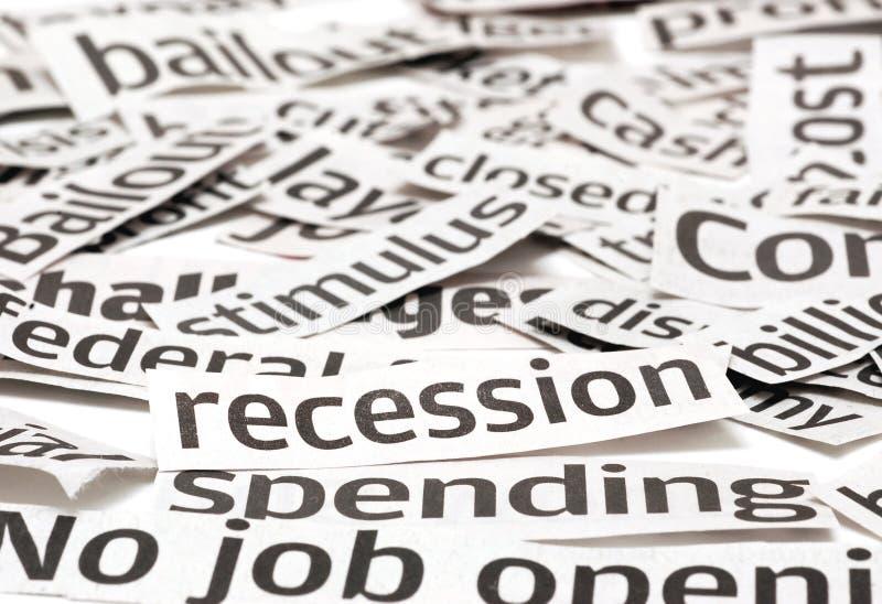 Rezession-Schlagzeilen lizenzfreies stockfoto