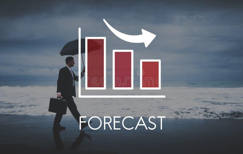 Rezessions-Abnahme-Geschäfts-Balkendiagramm-Konzept stockfotos