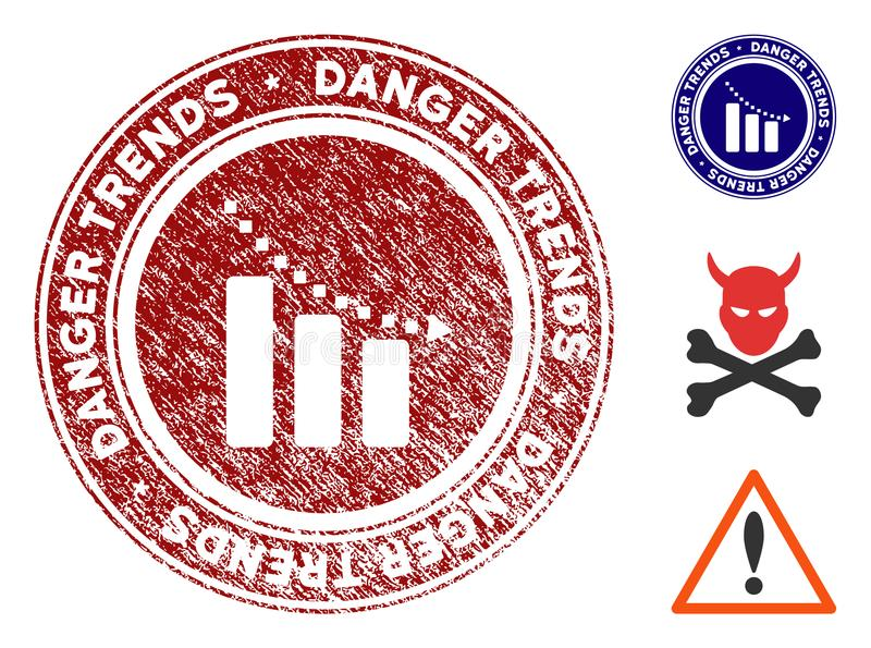 Rezessions-Gefahrentendenz-Stempel mit verkratzter Beschaffenheit stock abbildung