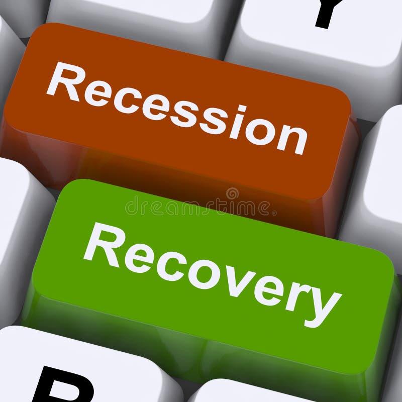 Rezessions-und Wiederaufnahme-Schlüssel-Show-Aufwärtsbewegung oder Rückgang lizenzfreie stockbilder