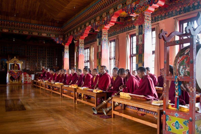 Rezo budista dentro del monasterio fotografía de archivo libre de regalías