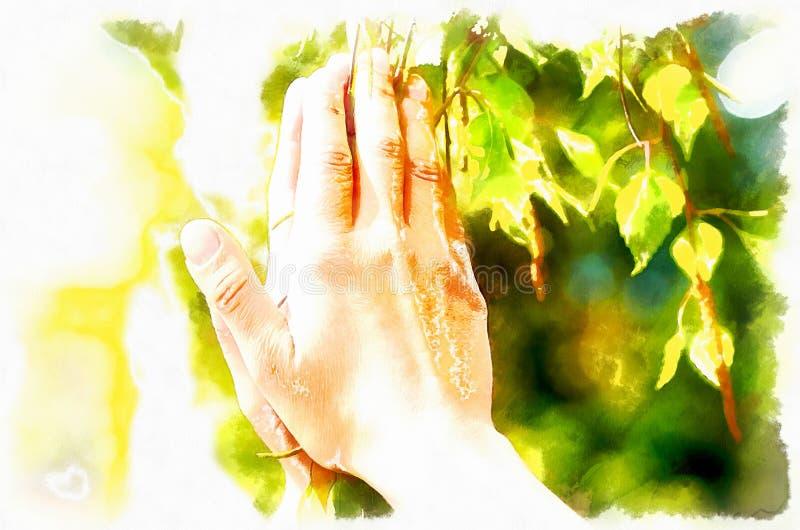 Rezo de la primavera, adorando los poderes curativos de la primavera, árbol en manos efecto de la pintura del ordenador stock de ilustración